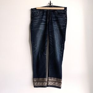 White House Black Market embroidered cropped jeans
